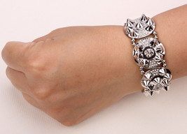 Spike Stretch Bracelet Antique Silver Gold Plated Thanksgiving Xmas Holiday - $13.99