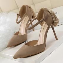 pp257 elegant pointy ankle sandals w big fringe, nubuck, US Size 4-8, khaki - $48.80