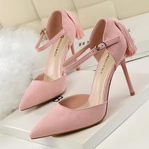 pp257 elegant pointy ankle sandals w big fringe, nubuck, US Size 4-8, pink - $48.80