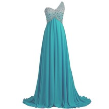 Lemai Sheer One Shoulder Crystals Backless Long A Line Formal Prom Evening Dr... - $149.99