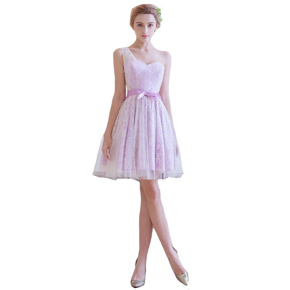 Primary image for Lemai Lace and Tulle One Shoulder Beach Short Prom Homecoming Bridesmaid Dres...