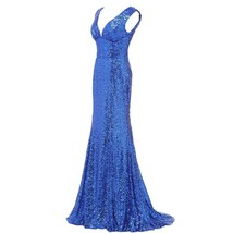 Lemai Women's Shiny Sequined Mermaid V Neck Formal Long Evening Prom Dresses ... - $89.99