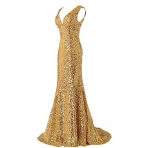 Lemai Women's Shiny Sequined Mermaid V Neck Formal Long Evening Prom Dresses ... - $99.99