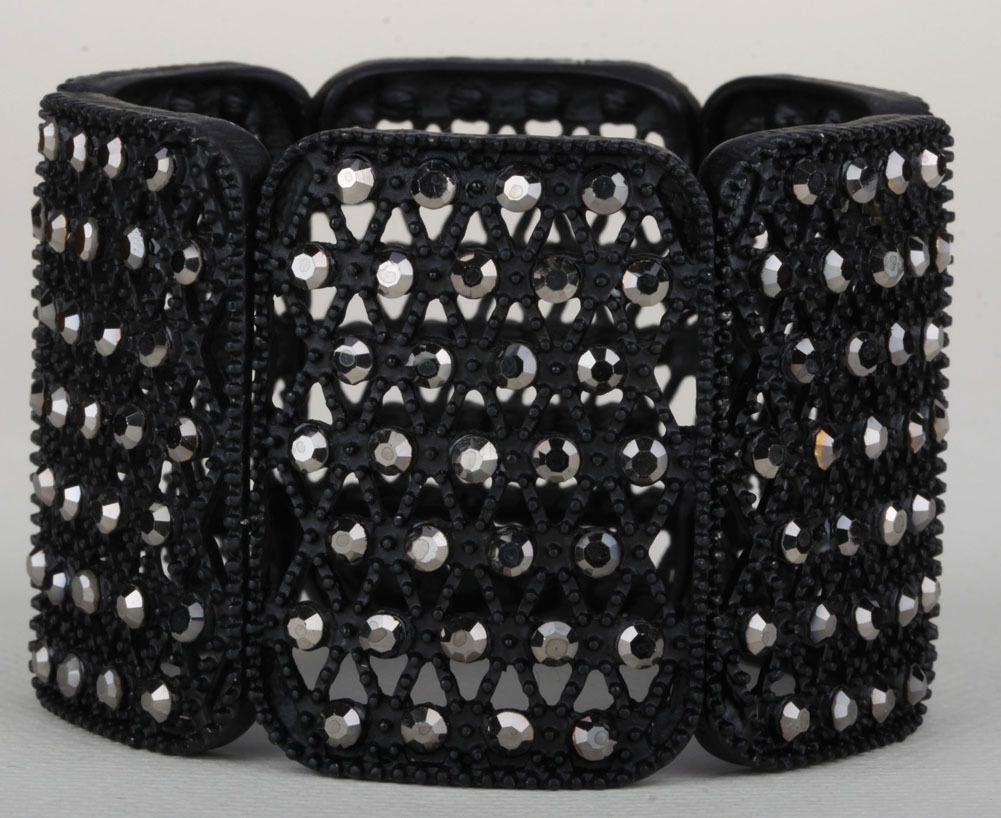 Black Stretch Bracelet W Crystal Jewelry Gifts For Women D18 Wholesale