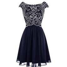 Sheer Beaded Corset Short A Line Prom Homecoming Dresses Cocktail Party Gowns... - $119.99