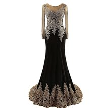 Lemai Black Jersey Mermaid Gold Lace Rhinestones Prom Evening Dresses Long Sl... - $149.99