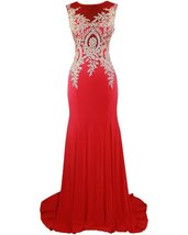 Lemai Spandex Jersey Mermaid Long Sheer Gold Crystals Lace Formal Prom E... - $113.99