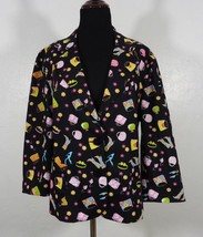 Briggs Colorful Purse, Boots, and Heels Print Blazer Size 18 Fun, Casual... - $24.95