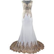 Lemai Spandex Jersey Mermaid Long Sheer Gold Crystals Lace Formal Prom E... - $109.99