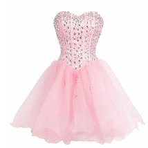 Lemai Sweetheart Organza Short Crystals Boned Prom Homecoming Cocktail Dresse... - $109.99