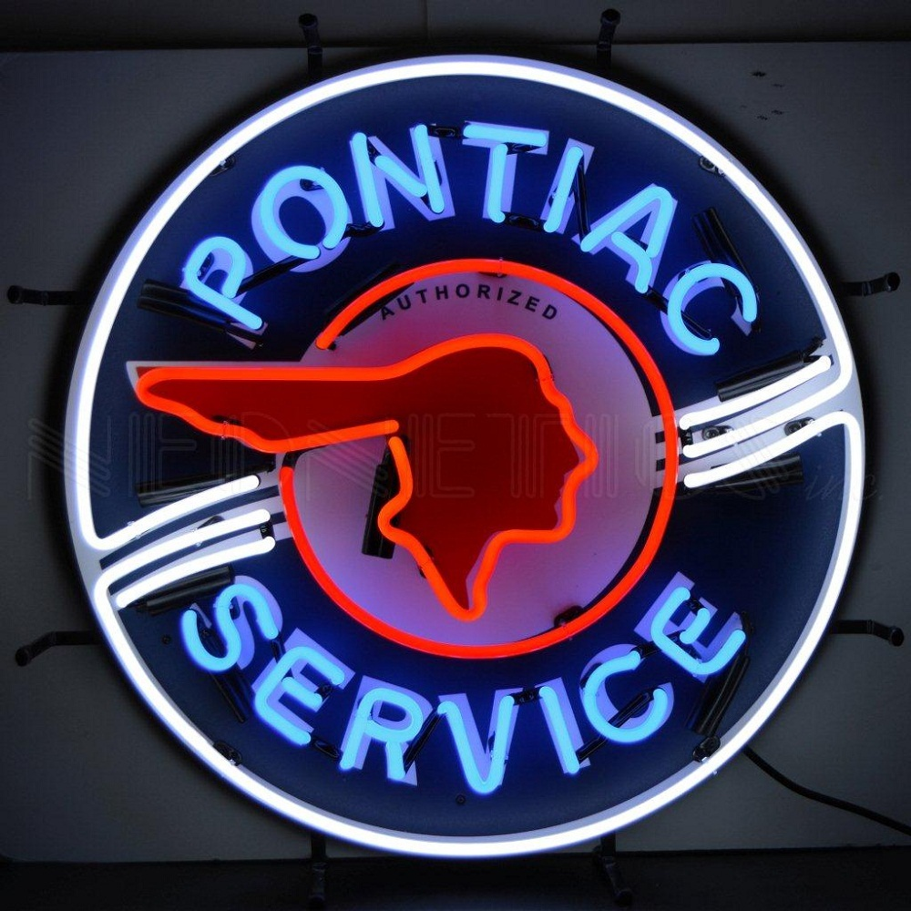 Neonetics Pontiac service neon sign with silkscreen ...