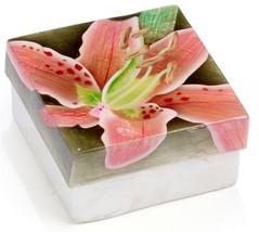 Kubla Crafts Capiz Shell Pink Lily Flower Trinket Jewelry Gift Change Box - $9.99