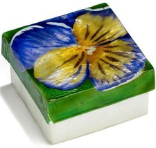 Kubla Crafts Capiz Shell Pansy Flower Trinket Jewelry Gift Change Box - $9.99