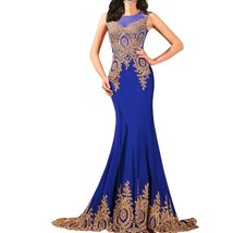 Lemai Shiny Crystals Long Mermaid Formal Prom Pageant Evening Dresses Gold La... - $129.99