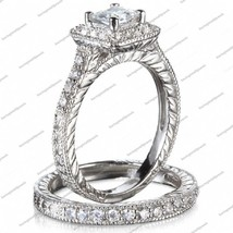 Bridal Engagement Ring Set In White Gold Plated 925 Silver Princess Cut White CZ - $96.99