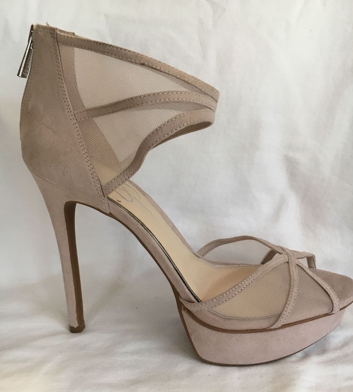 68d23fab50c1 JESSICA SIMPSON Rose  Lt Pinkish Cream Beige High Sexy Open Toe Heels Size  10 40
