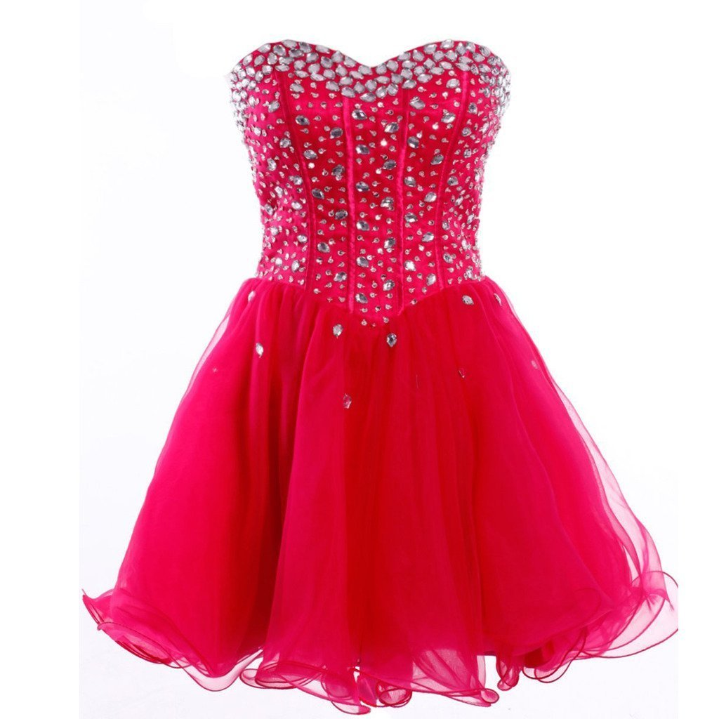 Primary image for Lemai Sweetheart Organza Short Crystals Boned Prom Homecoming Cocktail Dresse...