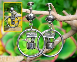 Vintage Wishing Well Bucket Hoop Dangle Earrings Figural Screw Back - $17.95