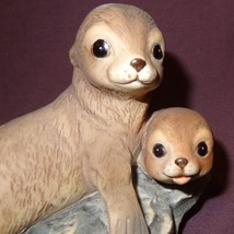 "Seals Ocean Figurine Masterpiece HOMCO 1981 Porcelain 4"" - $12.89"