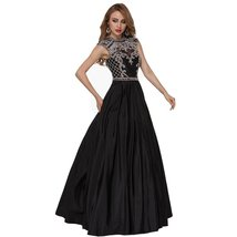 Lemai Black High Neck Beaded Crystals Long Backless Black A Line Prom Evening... - $149.99