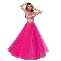 Lemai Hot Pink Long Two Pieces Beaded High Neck Sheer Backless Prom Party Dre... - $149.99