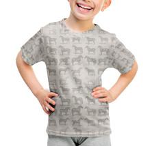 Vintage Horses Pattern on Grey Kids Sport Mesh T-Shirt - $32.99+