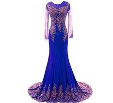 Lemai Women's Spandex Sheer Long Sleeves Gold Lace Mermaid Formal Evening Pro... - $109.99
