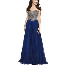 Lemai A Line Chiffon Crystals Gold Lace Long Formal Prom Gowns Evening Dresse... - $106.99