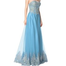 Lemai Gold Lace Crystals A Line Long Tulle Formal Prom Dresses Evening Gowns ... - $129.99