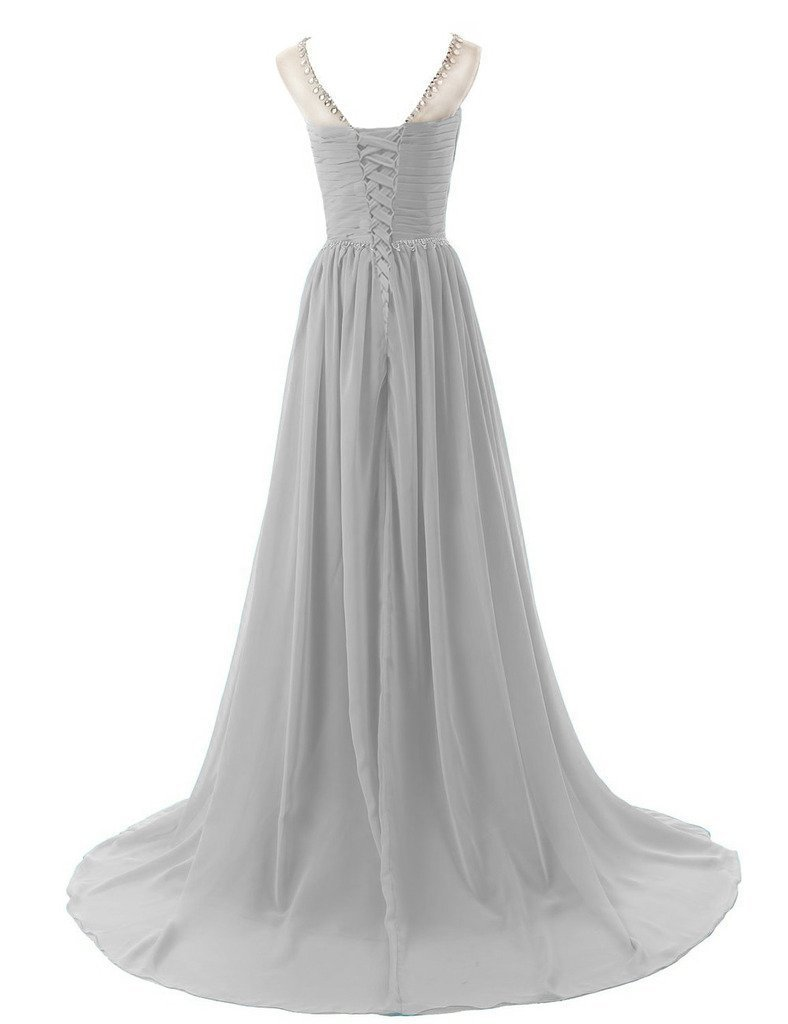 Lemai Sheer Crystals Criss Cross Long Beaded Corset A Line Prom Evening Dress...