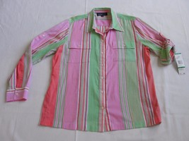 Jones New York Button-up Striped Multi-Color Shirt Women's Large New - $20.56