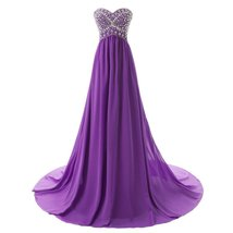 Lemai Shiny Beaded Long A Line Corset Chiffon Formal Crystals Prom Evening Dr... - $109.99