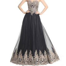 Lemai Gold Lace Crystals A Line Long Tulle Formal Prom Dresses Evening Gowns ... - $119.99