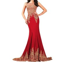 Lemai Shiny Crystals Long Mermaid Formal Prom Pageant Evening Dresses Gold La... - $139.99