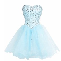Lemai Sweetheart Organza Short Crystals Boned Prom Homecoming Cocktail Dresse... - $119.99