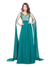 Lemai Women's V Neck Sash Beaded Chiffon Multi Color Long Watteau Evening For... - $149.99