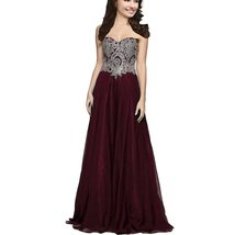 Lemai A Line Chiffon Crystals Gold Lace Long Formal Prom Gowns Evening Dresse... - $116.99