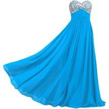 Lemai Sweetheart Chiffon A Line Shiny Crystals Corset Long Prom Formal Evenin... - $79.99