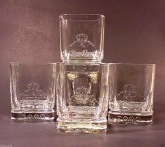 CROWN ROYAL WHISKY GLASSES ♚ Set of 4 ♚ Lowball Rocks 2000 Millenium Glass - $18.95