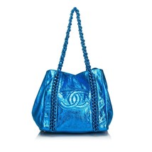 Pre-loved Chanel Blue Calf Leather Metallic Modern Chain E/W Tote Bag Italy - $1,111.66