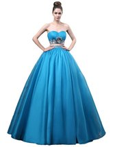Lemai Women's Blue Two Pieces Beaded Organza Sweetheart Prom Quinceanera Dres... - $159.99