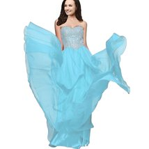 Lemai A Line Chiffon Crystals Gold Lace Long Formal Prom Gowns Evening Dresse... - $99.99
