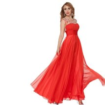 Lemai Red Long Beaded Crystals Women Formal Corset Chiffon Prom Evening Dress... - $139.99