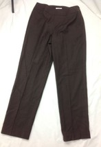 TALBOTS Womens Sz 6 Fully Lined Brown Stretch Dress Pants Side Zip Italy 28W 30L - $34.95