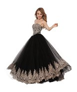 Lemai Black Tulle Gold Lace Crystals Corset Prom Evening Dresses Long Fo... - $159.99
