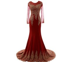 Lemai Women's Spandex Sheer Long Sleeves Gold Lace Mermaid Formal Evening Pro... - $129.99