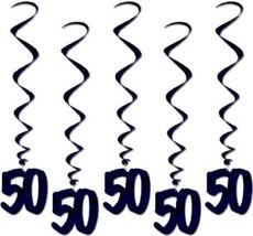 Number 50 Whirls (5pc Pkg) Black Birthday Or Anniversary Decoration - $7.91