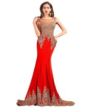 Lemai Women's Crystals Gold Lace Mermaid Sheer Back Long Formal Prom Evening ... - $103.99