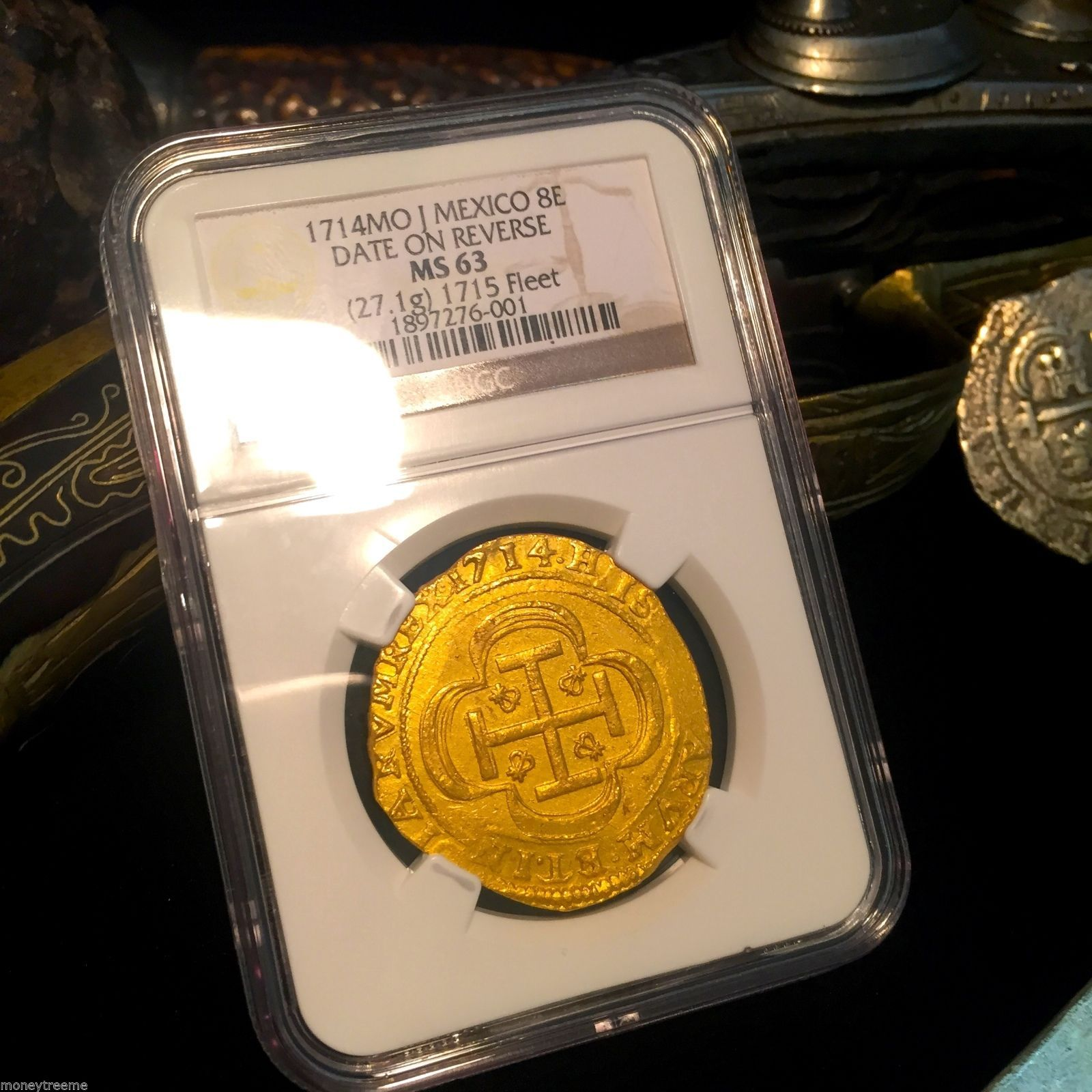 "Primary image for MEXICO 1715 FLEET SHIPWRECK ""ROYAL LIKE"" 8 ESCUDOS 1714 ""DATE ON REVERSE"" NGC 63"
