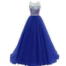 Lemai Women's Ivory Lace with Tulle Long Sheer Crystals Formal Prom Evening D... - $109.99